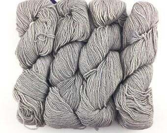 Malabrigo Dos Tierras Pearl 036 Baby Alpaca & Superwash Merino Wool DK Weight Yarn Grey Kettle-Dyed Wool 210 Yds Lite Gray Merino Alpaca DK