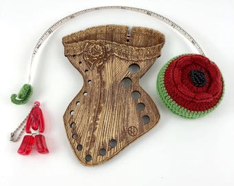 Corset Gauge, Red Puppy Snips, Lantern Moon Red Flower Tape Measure ,3PC Bundled Set Valentine's Day Gift Sewers Gift Retromantic Fripperies