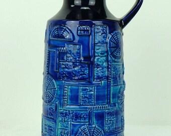 1960s bay keramik VASE bodo mans decor 'narvik' blue and turquoise 256-25