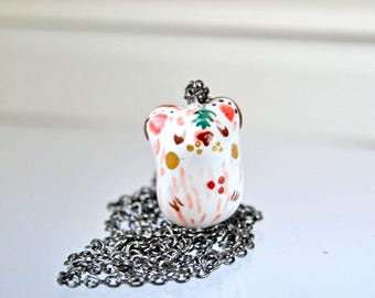 Dreamer Forest Bear Necklace, Valentine's Day Gift Idea, Adorable Ceramic Animal Jewelry