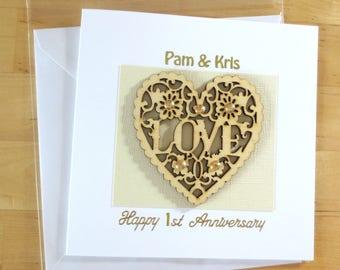Personalised Anniversary card, 1st anniversary card, 2nd 3rd 4th 5th 6th 7th 8th 9t anniverarsary, for husband, wife, Wood  Anniversary card
