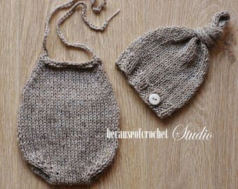 Sale! Newborn baby boy Photo Prop romper and hat. Size 0-1 month. Made from natural color wool/acrylic yarn. More colors available