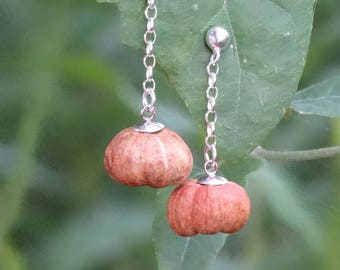 Earrings made of mini pumpkin and sterling silver