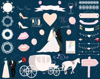 Wedding Clip Art, Commercial use, Vector graphics, Romantic clipart, Vintage Wedding,Wreath Clipart,Wedding Decorations,Frames,Borders, Kit