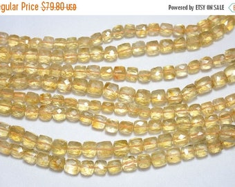 ON SALE 50% Citrine Beads, Citrine Faceted Box Beads, Gemstone for Jewelry, 8mm Cut Box Beads, 5 Inch Half Strand
