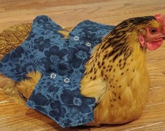 Dark Blue Flower Denim Fabric- Chicken Apron/Saddle