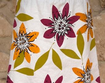 Tropical Flower screen printed design skirt, arty skirt, colourful flowers, summer fun skirt