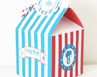 Box - red and blue circus theme - birthday child