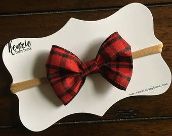 Red and Black Buffalo Check Baby or Girl Ribbon Bow Headband or Alligator Clip