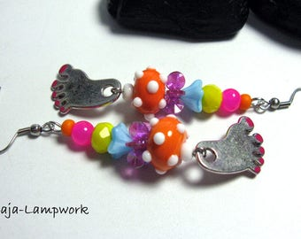 Cheerful colorful earrings with small feet