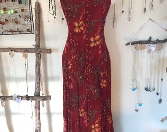 80s Red Floral Button Down Maxi Dress Medium
