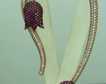 Turkish Handmade Jewelry 925 Sterling Silver Ruby Stone Ladies' Earrings