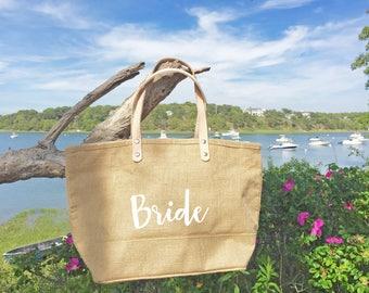 Wedding Tote Bag/ Jute Tote Bag with Leather Handles/ Burlap Purse/ Handbag/ Beach Bag/ Honeymoon Bag/ Wedding Gift/ Custom Bag/ Beach Tote