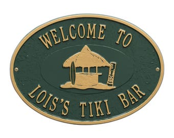 Personalized Tiki Hut Party Plaque