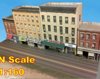 Paper Model Card Stock Buildings Downtown apartments with shops Cardstock kit set - N or Z scale for Diorama or Model Train