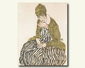 Printed On Textured Bamboo Art Paper - Edith With Striped Dress Sitting 1915 - Egon Schiele Print Schiele Poster Gift Idea  bp