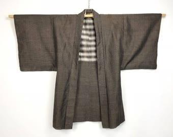 D984 Vintage Japanese Haori Kimono Mens Cotton Cardigan Jacket