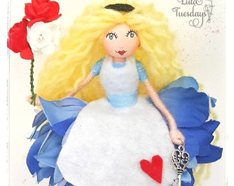 Alice doll - flower fairy doll - Alice in wonderland - fairy doll - dolly - Alice  - Alice ornament - birthday gift - Alice collectable