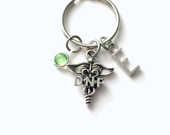 Gift for DNP Keychain, Doctor of Nursing Practice Key Chain, keyring Initial Birthstone present women her him men caduceus medical career