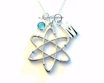 Science Jewelry, Atom Necklace Gift for Scientist Initial Birthstone birthday Christmas present Neutron Nucleus Geek Nerd Chemist Chemistry