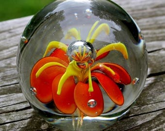 Blown, Glass, Paper Weight, Decor, Flower, Yellow, Orange, Handmade, Floral, Clear, Orb, Sphere, 3D, Office, Study, Bubble, Weight, Book