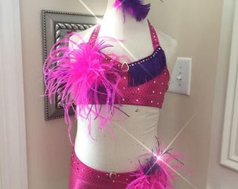 2 piece Custom JAZZ Dance Costumes---PINK and PURPLE Feathers and Rhinestones-Solo or Duet