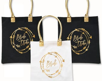 Bride Tribe Tote - Bridesmaids Gift Bags, Bachelorette Party Bags, Bridal Party Bags, Maid of Honor -