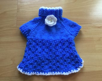 Hand knit doggy dress in color of your choice