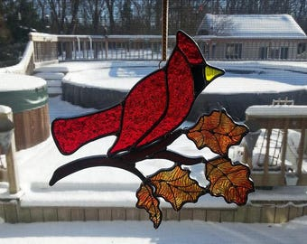 Stained Glass Cardinal Sun Catcher with Fall Leaves