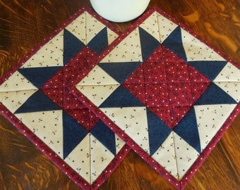 Patriotic Theme, Quilted Pot Holders/Hot Pads Patchwork with Red, Blue and Ivory  Print Fabric/ Set of two