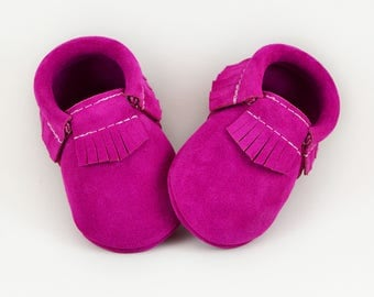 Prickly Pear Baby Moccasins, Handmade Moccs, Baby Moccs, Leather Moccs, Magenta, Fuchsia, Genuine Leather Moccs, Suede Moccs, Fall, Autumn