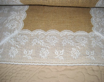 "Burlap and Lace Table Runner 16"" W X 80"" L"