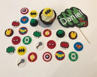 24x Edible mini Superhero toppers + cardstock topper