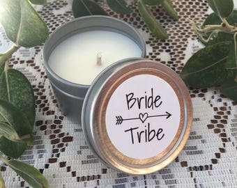Petite 2oz Mini Travel Tin Bride Tribe Candle Wedding Bomboniere Favour
