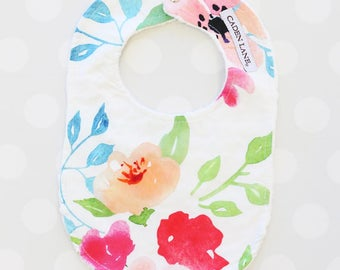Fairytale Floral Minky Baby Bib  | Watercolor Floral Baby Girl Gift | Newborn Bib