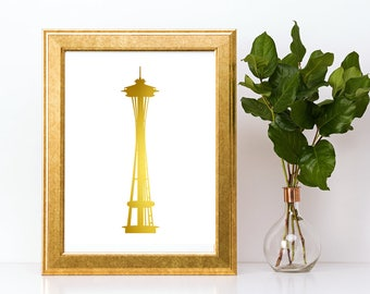 Gold foil print,Seattle Space Needle wall art,gold foil wall art,gold foil art,foil art,Seattle Space Needle print,Seattle art