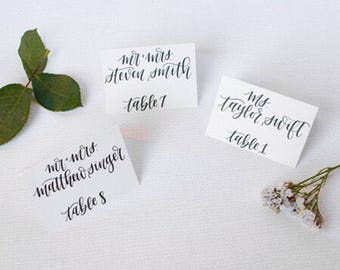 White Wedding Place Cards | White Cardstock | Hand Lettered