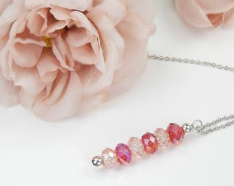 Necklace Pearl charm in red pink on silver chain stainless steel pendant necklace red beads glass beads Silver color balls