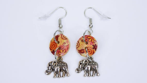 Earrings Elephant and buttons with flowers in beige orange on silver-colored earrings wooden pendant earrings oriental elephant with flower