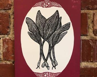 Appalachian Homegrown Letterpress Print - Ramps