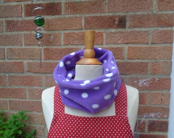 Purple White Polka Dot Polar Fleece Cosy Scarf - Snood -  Loop Scarf - Winter Scarf - Warm Scarf - Neck Warmer - Adult - Children - Teenager