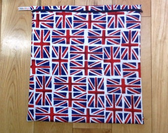Waterproof Lined Zip Pouch - Toiletries Bag - Sports Bag - Bikini Bag - Lunch Bag - Swim Bag Union Jack British Flag UK Fabric Mega Poppins