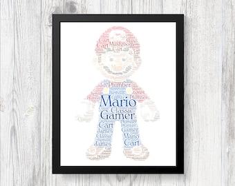 MARIO NINTENDO Personalised Word Art Print Gift Present Birthday Christmas LOVE Classic Gamer Surprise Gifts