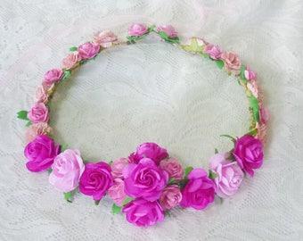 Pink rose crown pink tones rose/ Angel head dress/ Beach crown/ Boho/ Fairy crown/Romantic flower crown