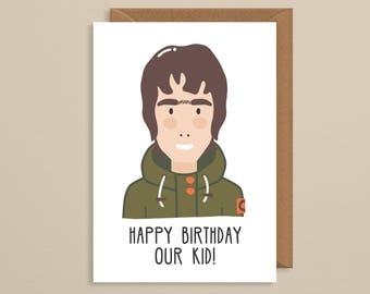Birthday card boyfriend. liam gallagher. music birthday card. art. print. card. oasis birthday card. manchester . handmade greetings card.