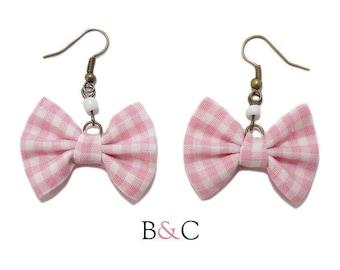 Earrings pink Gingham Bow.