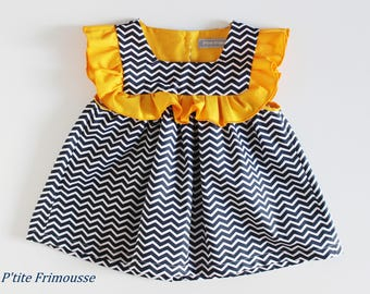 Tunic, blouse, top spring summer girl 3 years old, blue geometric cotton fabric, beautiful Navy/white ruffle.