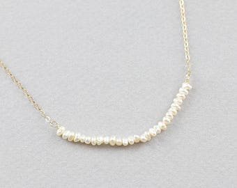 Ultra Tiny Pearl Necklace on sterling silver, 14k gold filled, rose gold filled / Pearl Bridesmaid Necklace, Gift for her