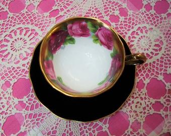 Beautiful Vintage Royal Albert Black Matte OLD ENGLISH ROSE Cup & Saucer.