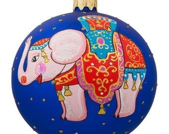"""4"""" Circus Elephant Glass Ball Christmas Ornament"""